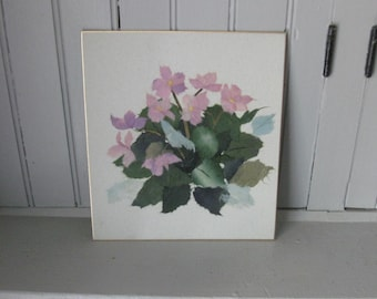 1970s Chinese Torn Rice Paper Art of Pink and Purple Flowers #1