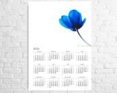 Wall Calendar 2016 Perfect love A3 poster calendar with a blue tulip Nursery room art Blue wall art Flower calendar ON SALE
