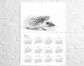 Wall calendar 2016 or 2017 Hedgehog A3 poster Original calendar with African hedgehog Nursery wall art Gift from woodland Hedgehog gift