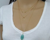 Gold layered necklace set, gold circle necklace, gold infinity necklace and layered and Long Amazonite Necklace