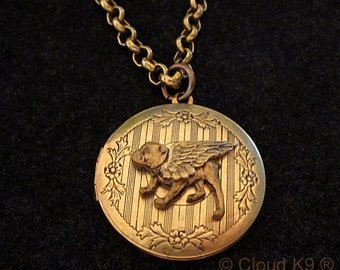 BULLDOG ANGEL LOCKET Necklace. Guardian Angel Jewelry.Gifts for Bulldog Lovers by Cloud K9 .Locket Pendant holds 2 photos