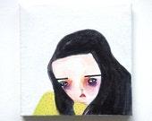 girl painting, running away