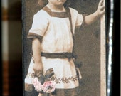 Primitive Style Photo Block Little Girl From 30's With Flower