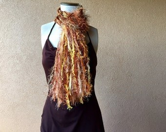 Fringed Fashion Scarf Accessories Scarf Fashion Scarves Copper, Brown, Gold, Amber, Yellow, Orange, Rust Scarf