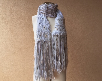 Light Grey Scarf Feathery, Slate Silver Gray and White Scarf Handmade Accessories Knit Scarf