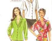 Women shirts tops Casual chic front buttoned blouse with collar sewing pattern Vogue 8248 size 6 to 12 UNCUT