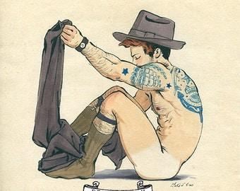 Youth Disrobing - Arousing Gentlemen Sensual Undressing Risque Gay Art Provocative Male Nude Felix d'Eon - Poster 24 x 24