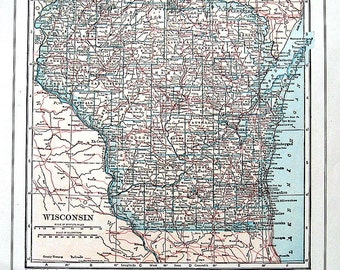 Map of Washington, Map of Wisconsin -  1928 US State Map Colored Vintage Map from World Atlas 2 Sided