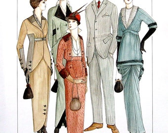 Men's and Ladies' Accessories, Hats, Period Clothing of the Early 1900's - 1914 to 1918 -Reference Material-1993 Vintage Book Page - 9.5 x 8