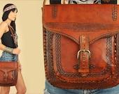 ViNtAgE 60's 70's Hand Tooled LEATHER Messenger Bag // EAGLE Artisan // Poet's Satchel // Handbag Purse // Buckle Strap