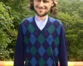 vintage 70s v-neck sweater ARGYLE lambswool navy Large Medium preppy 80s