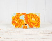 Handmade  Wallet - BiFold Wallet - Vegan Wallet / Rose Bouquet in Orange Mint -- Ready to Ship