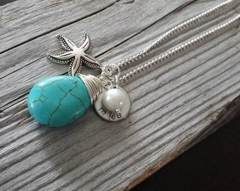 Stamped Turquoise Starfish Washer Necklace Custom Wording Ball Chain Pendant