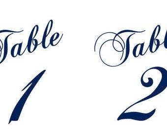 Printable Tented Table Number Cards DIY You print Instant Download Set 40 Wedding Decor Bridal Shower Casual Elegance Navy Blue