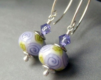 Floral Lampwork Earrings on Sterling Silver, Lavender SRA Artisan Glass Lampwork Dangle, Violet Floral Earrings