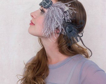 Flapper Feather Headband Silver And Slate With Ostrich Feather And Rhinestone Beading