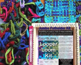 Potholder jumbo WOODEN loom kit, 1.5lbs COLORS cotton loops, handmade in U.S.A., craft supplies, sock loopers weaving, rugs, recycling