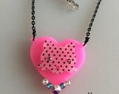 Sale Polka Heart Kitty laser cut pendant