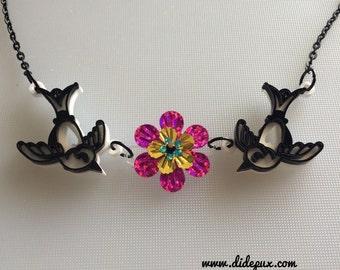 last one! SWALLOW LOVE laser cut necklace