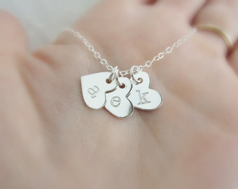 Gift for Her Initial Necklace, Personalized Mothers Necklace with Childrens initials Silver initial heart necklace Gift for Grandma necklace