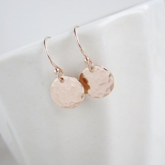 Tiny Dot Rose gold earrings, pink gold earrings, hammered rose gold discs, dainty earrings, everyday earrings, simple small dangle earrings