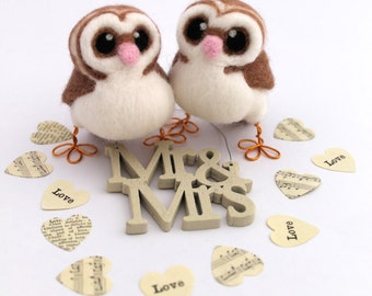 Mini Owl Wedding Cake Topper Barn Owl Pair in soft Browns With Heart shaped Face Felt Birds