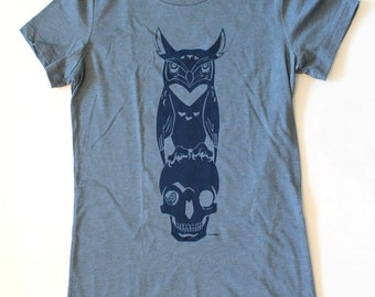Womens Fitted Tee Shirt - Owl and Skull Design Graphic Tees - Heather Slate Blue - T Shirt Women Sizes Small Medium Large XL Sizes