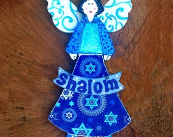 Jewish Decorating Ideas - Judaica decor - Israeli Art - Shalom Art - Jewish Fairy - Star of David wall hanging - Jewish art - Jewish plaque
