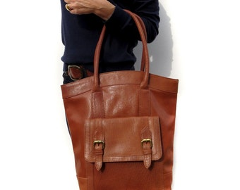 Brown Leather Tote Handbag
