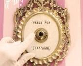 Press For Champagne Framed Vintage Button ( ringing version )