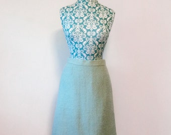 Vintage 1960's boucle skirt  // aqua tweed A line // romantic 60's skirt