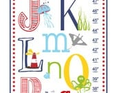 Children's Growth Chart / Ruler / Wall Art for Kids - Nursery Art - Nautical ABC's Alphabet