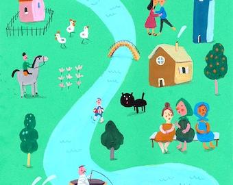 a day in the village  Original illustration, wall decor, kids room decor, nursery decor
