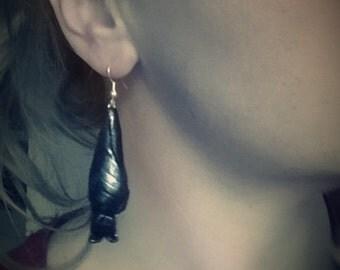 Hanging Bat Poymer Clay Sterling Silver Earrings