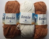 Lot of 3 Dale of Norway Svale yarns: brown and white