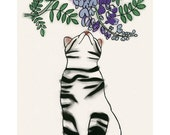 """Cat Art print. Spring Blossoms -  - 8.3"""" X 11.8"""" - 4 for 3 Sale"""