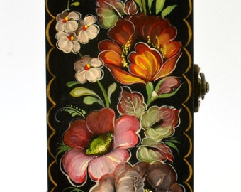 Hand Painted Pencil Case or Jewelry Box Russian Zhostovo Style