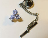 Genuine Tanzanite Tie Tack or Lapel Pin in Sterling
