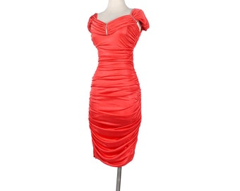 Vintage 80s Dress - 80s Bandage Dress - 80s Coffin Dress - Red Dress - 80s Prom Dress - Red Prom Dress - 80s Party Dress - Body Con Dress