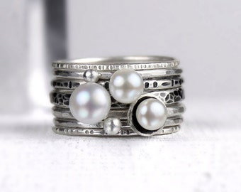Freshwater Pearl and Silver Stacking Rings, Mixed Texture and Finish, White Black Gray, Set of Seven