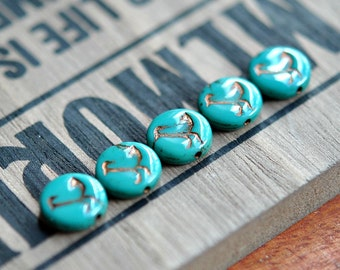 Little Birdie - Czech Glass, Opaque Turquoise, Metallic Bronze Wash, Flat Coin Beads 12mm - 10 Pc