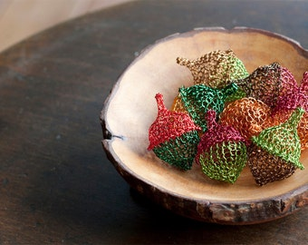 Autumn trends - Wire Crochet Acorns – Autumn Colors – Wire Crochet Acorns – Collectibles Acorns – Autumn Decorations – Woodland Craft