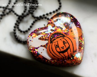 Spooky Halloween Jewelry, Novelty Necklace, Pumpkin Orange, Spooky Ghost, Halloween Treats, Cute Heart Shape Resin Necklace Made by isewcute