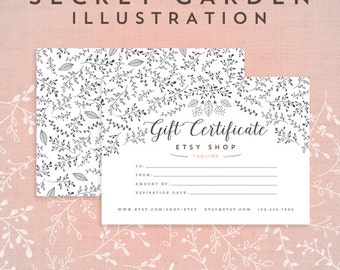 Gift Certificate - Hand Drawn Secret Garden Collection Organic Inspired Botanical Floral Leaves Line Pattern Black and White