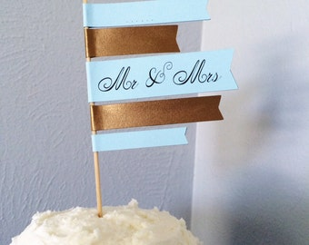 Wedding Cake Topper Flag