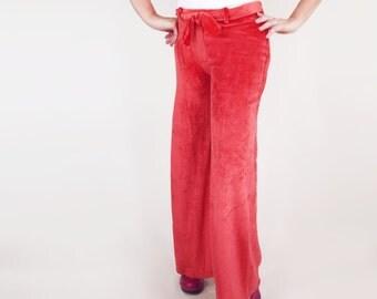 NOS 70s Red Orange Velour Knit Hip Hugger Bell Bottom Pants L