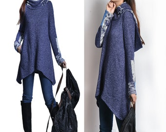 water cloud - cowl neck hoodie tunic / blue hoodie / cowl neck sweater shirt / idea2lifestyle tunic top (Y1520T)