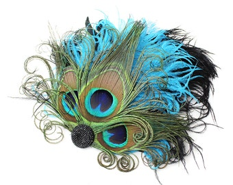 Turquoise Peacock Feather Fascinator, Hair Accessory, Bridesmaids, Head Piece, Hair Clip, Victorian, Jet Black, Batcakes Couture