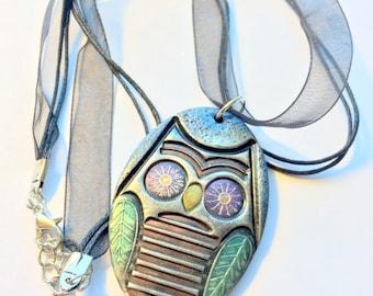 Owl Handmade Polymer Clay Pendant Black Black Ribbon Cord Necklace