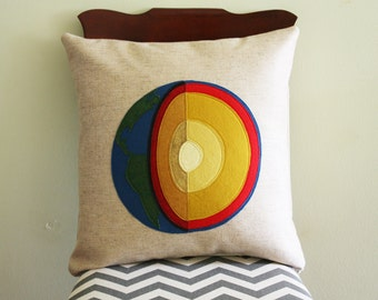 Science Diagram Pillow - Earth Cross Section // Geology // Geologist // Layers // Core // Crust // Mantle // Space // Planet // Scientist